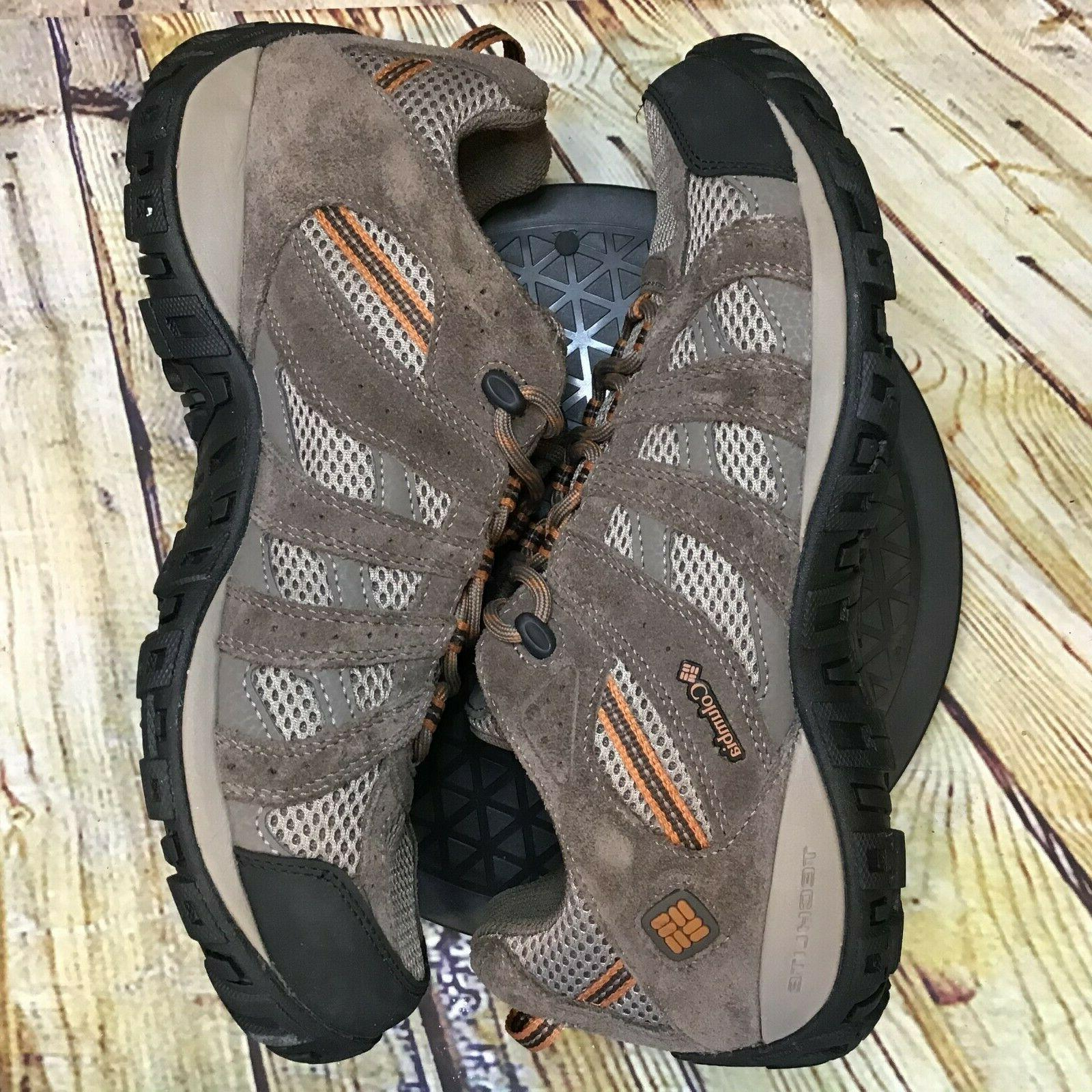 Columbia Redmond Mens Brown Leather Low Hiking Shoes Size 10