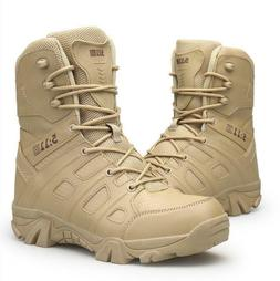 Men Outdoor Hiking Shoes High Top Military Tactical Army Wat