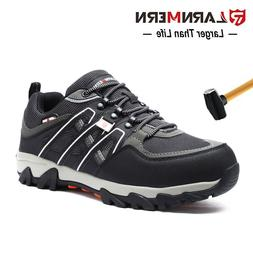 Larnmern Men's Steel Toe Safety Shoes Breathable Reflective