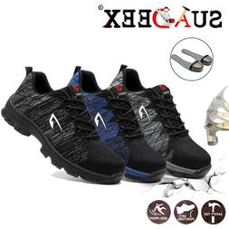 Mens Safety Shoes Mesh Steel Toe Lightweight Work Cap Boots